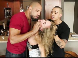 Hot Teen Slut Used Hard By Two Big Cock Guys