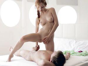 Tender Redheaded Teen Blows Her Man Erotically