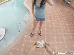 Skinny Girl In Nerd Glasses Blows Him Poolside