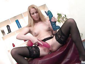 Pale Skin Girl In Black Stockings Fucking Her Toys