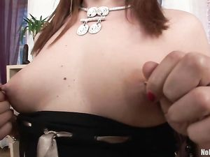 Clit And Tit Piercings On This Dildo Riding Redhead
