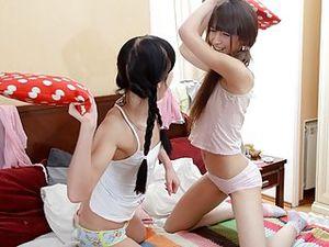 Lesbian Teens Get Hot Sucking On Small Titties