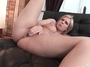 Slutty Blonde Plays Solo With Her Massive Dildos