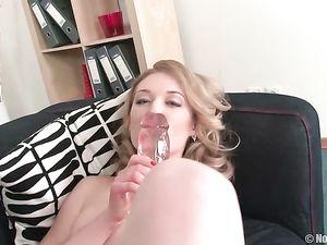 Fashionable Teen Beauty Fucks Her Huge Dildos