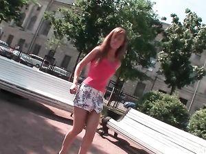 Public Flashing Naughty Girl Has A Double Penetration