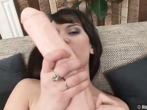 Teen Sucks Pussy Juices Off Her Huge Dildo