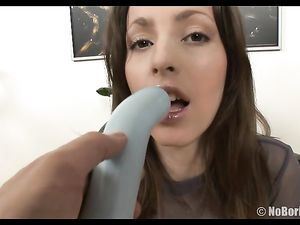 Satin Skirt Girl Bends Over For A Toy Fucking