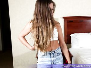 Skinny Girl Strips And Sits On A Dick In The Hotel Room