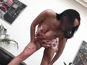 Buxom Brunette Babe Climbs On Top And Rides Cock