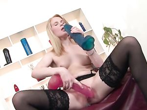 Strawberry Blonde Beauty And Her Huge Toys Have Sex