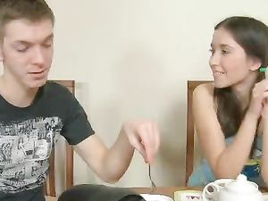 Tea Time Sex With The Sweet Pigtailed Teenager