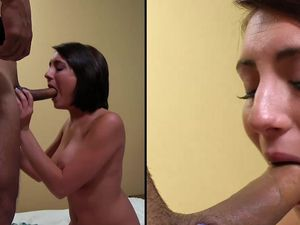 Hot Facial Cumshot For A Pretty Teen Brunette Babe