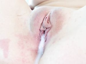 Tight Shaved Cunt Takes A Big Creampie