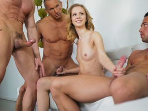 Rachel James Takes On Three Horny Guys At Once