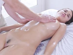 Oiled Pornstar Pussy Impaled On His Big Cock
