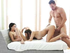 Good Girls Have A Sensual FFM Threesome For His Cum