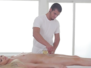 Tiny Blonde Lady Laid Hardcore On His Massage Table