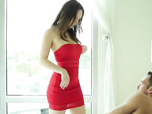 Hottie In A Red Dress Wakes Him Up To Fuck