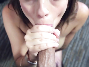 Cocksucking Brunette Gets A Load On Her Tongue