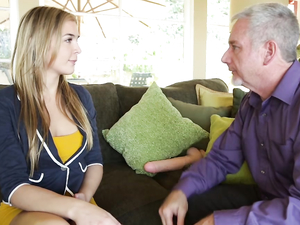 Young Beauty In A Tight Minidress Takes Old Guy Cock