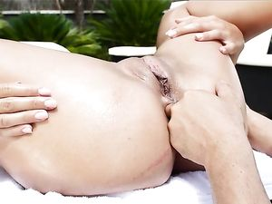 Gorgeous Oiled Girl Fucked In The Asshole Outdoors