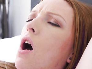 Redhead Blows Him Under The Table For Hot Sex
