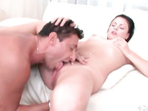 Puffy Tits Teen Loves His Tongue Licking Her Clit